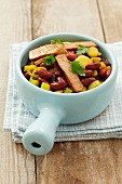Beef with red kidney beans, leeks and coriander