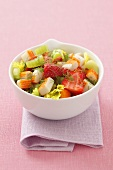 Surimi, celery and strawberry salad with dill