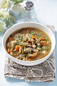 Barley soup with meat and vegetables (Lithuania)