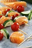 Salmon and vegetable kebabs