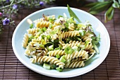 Fusilli with spring onions and herbs