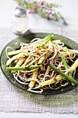 Spaghetti with beans and soy sauce