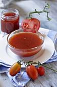Tomato chutney in glass dish