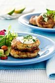 Tuna fish cakes with salad garnish