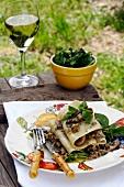 Summery mushroom lasagne