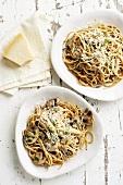 Wholemeal spaghetti with Portobello mushrooms and Parmesan