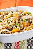 Wheat, orange and onion salad