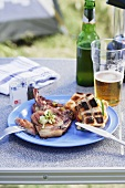 Pork chops, grilled bread and beer