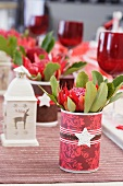 Christmas table with floral decorations (detail)