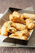 Sesame pastries with mushroom and leek filling