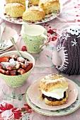 Lavender scones with cream and strawberry jam