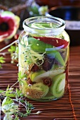 Pickled vegetables in jar