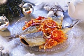 Fried herring with onions and tomatoes (Christmas)