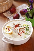 Zurek (Polish sour cream soup) for Easter