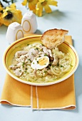Chicken soup with onions and egg