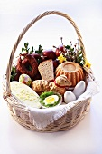 Cake, sausage and bread etc. in Easter basket