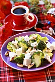 Broccoli salad with almonds and feta cheese