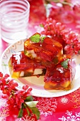 Fruit terrine in wine jelly