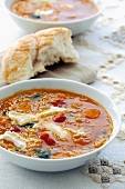 Lentil and spinach soup with Brie