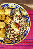 Couscous salad with red kidney beans & Cheddar cheese, corn on the cob