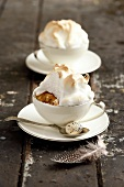 Hot cross bun bread & butter pudding with meringue topping (UK)