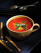 Wintry tomato soup with spinach dumplings and Parmesan