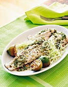 Grilled fish with lime and Asian dressing