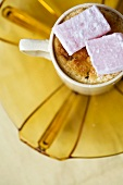 Baked buttermilk pudding with Turkish Delight