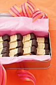 Chocolate-dipped shortbread fingers to give as a gift