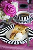 Piece of apple pie with vanilla ice cream, coffee