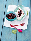 Rice pudding with berry sauce