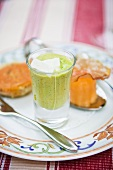 Pea mousse with goat's cheese