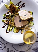 Goose liver on fried courgettes