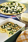 Pancake rolls with spinach and cheese filling