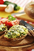 Courgette on toast with melted cheese
