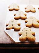 Gingerbread men on baking parchment