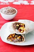 Vegetable wraps with bean puree