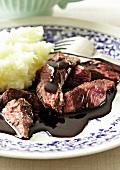 Ostrich steak with chilli chocolate sauce