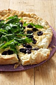 Feta cheese and olive tart made with filo pastry