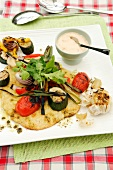 Barbecued corn flatbread with vegetables