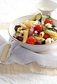 Penne with vegetables and feta
