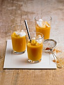 Sweet potato soup in glasses