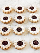 Raspberry biscuits on white background