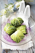 Savoy cabbage leaves stuffed with rice and mince