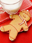 Gingerbread man and glass of milk
