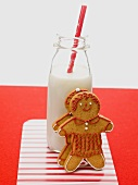 Gingerbread people and bottle of milk