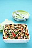 Bread and vegetable bake in baking dish