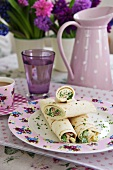 Wraps with watercress filling for Mother's Day