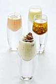 Various salad dressings in glasses