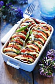 Tomato and courgette bake in baking dish